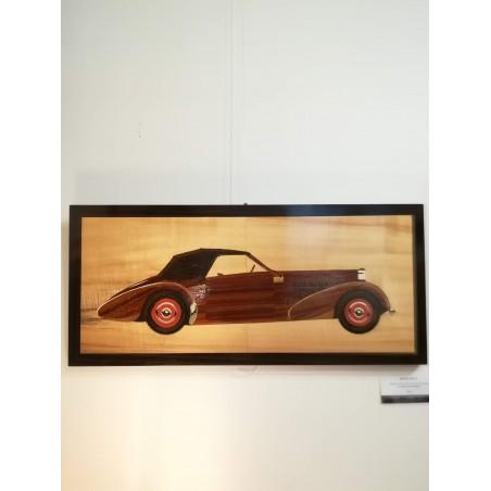 """Tableau de Marqueterie """"Bugatti type 57"""""""