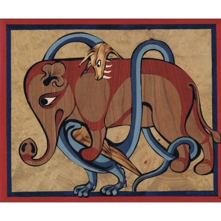 """Tableau de Marqueterie """"Éléphant et Dragon"""""""